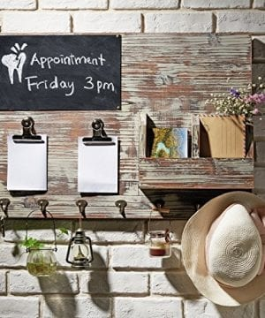 Torched Wood Wall Mounted Chalkboard Memo Clips Mail Sorter And Key Hooks Entryway All In One Organizer 0 0 300x360