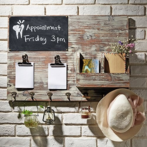 Torched Wood Wall Mounted Chalkboard Memo Clips Mail Sorter And Key Hooks Entryway All In One Organizer 0 0