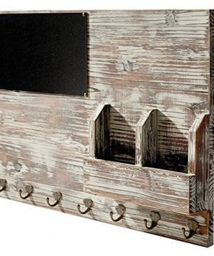 Torched Wood Wall Mounted Chalkboard Memo Clips Mail Sorter And Key Hooks Entryway All In One Organizer 0 1 300x360