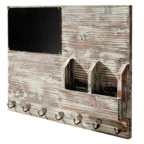 Torched Wood Wall Mounted Chalkboard Memo Clips Mail Sorter And Key Hooks Entryway All In One Organizer 0 1