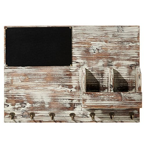 Torched Wood Wall Mounted Chalkboard Memo Clips Mail Sorter And Key Hooks Entryway All In One Organizer 0 2
