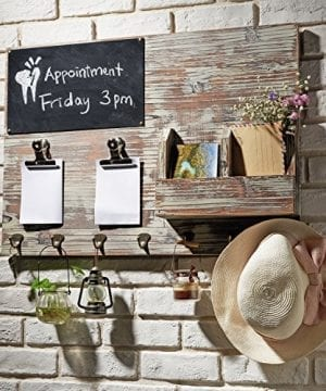 Torched Wood Wall Mounted Chalkboard Memo Clips Mail Sorter And Key Hooks Entryway All In One Organizer 0 300x360