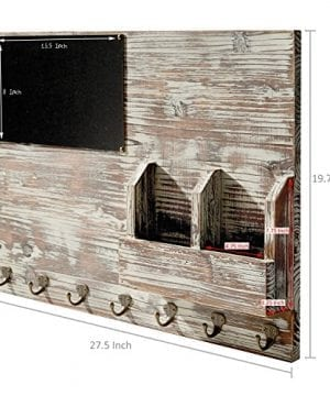 Torched Wood Wall Mounted Chalkboard Memo Clips Mail Sorter And Key Hooks Entryway All In One Organizer 0 4 300x360