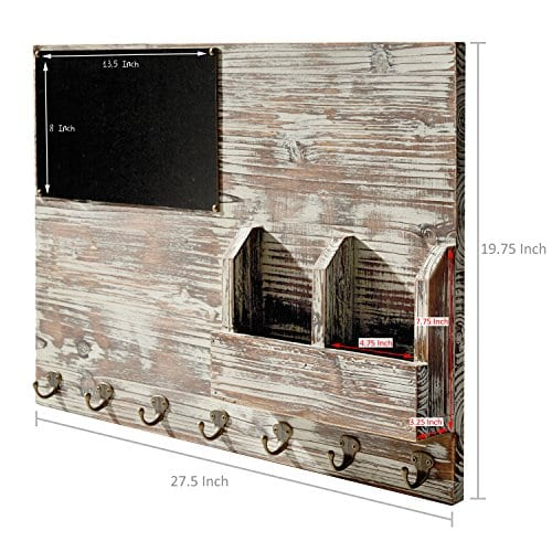 Torched Wood Wall Mounted Chalkboard Memo Clips Mail Sorter And Key Hooks Entryway All In One Organizer 0 4