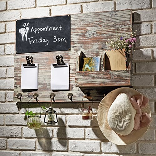 Torched Wood Wall Mounted Chalkboard Memo Clips Mail Sorter And Key Hooks Entryway All In One Organizer 0