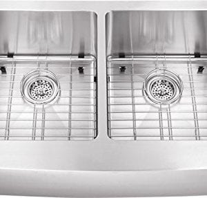 0505AP 5050 33x20x10 Farmhouse Apron Front 16 Gauge Double Bowl Stainless Steel Sink INCLUDES Grid Set And Strainers 0 300x288