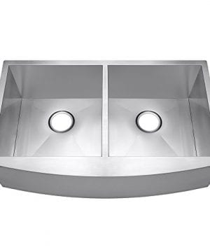 AKDY 33 X 20 X 9 Undermount Apron Double Bowls Basin 18 Gauge Handmade Stainless Steel Farmhouse Kitchen Sink 0 300x360