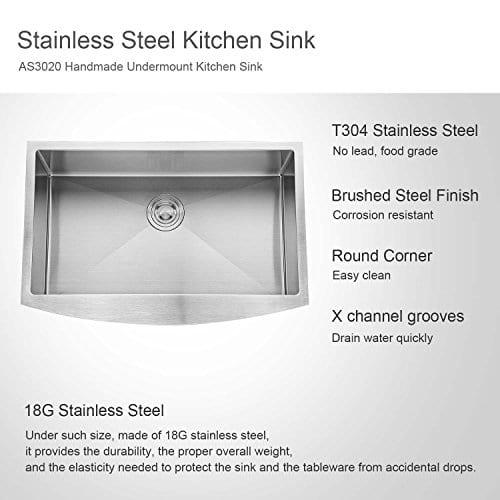 AguaStella Sink Stainless Steel Farmhouse Apron Kitchen Sink 30 Inch Handmade Single Bowl 0 1