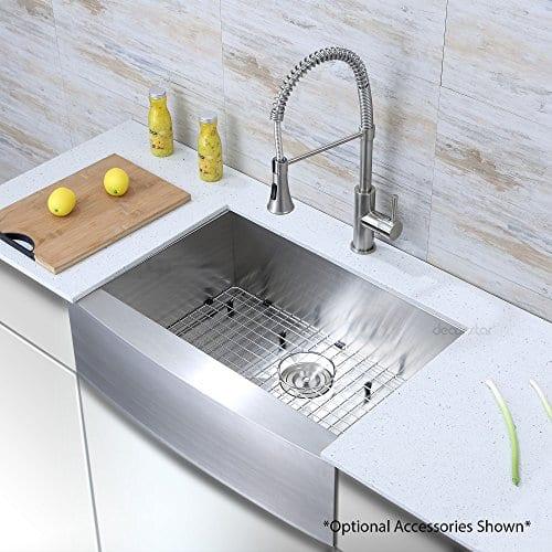 Decor Star F 001 Z V2 30 Inch X 21 Inch Farmhouse Apron Single Bowl 16 Gauge Stainless Steel Luxury Handmade Kitchen Sink CUPC Zero Radius 0 1