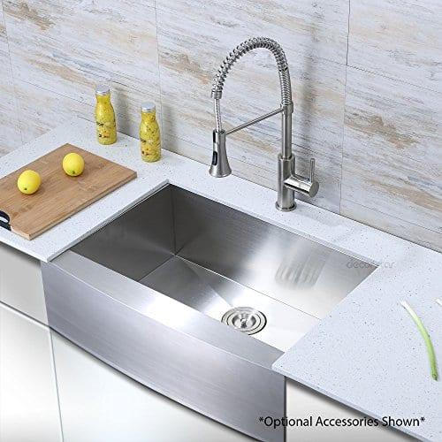 Decor Star F 001 Z V2 30 Inch X 21 Inch Farmhouse Apron Single Bowl 16 Gauge Stainless Steel Luxury Handmade Kitchen Sink CUPC Zero Radius 0