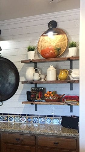 Farmhouse Industrial Shelf By THE FALLING TREE 36 X 10 X 15 Inches Espresso Rustic Floating 0