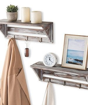 Farmhouse Style Torched Wood Wall Mounted Shelf Display Rack With 3 Key Hooks Set Of 2 Brown 0 0 300x360