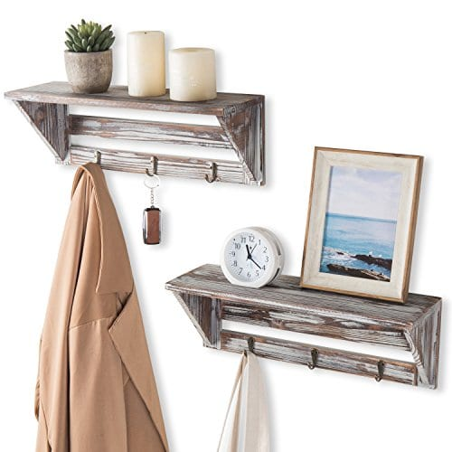 Farmhouse Style Torched Wood Wall Mounted Shelf Display Rack With 3 Key Hooks Set Of 2 Brown 0 0