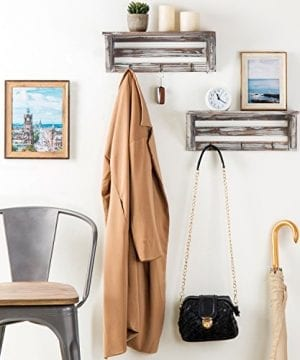 Farmhouse Style Torched Wood Wall Mounted Shelf Display Rack With 3 Key Hooks Set Of 2 Brown 0 1 300x360