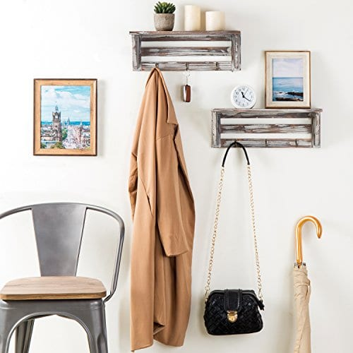 Farmhouse Style Torched Wood Wall Mounted Shelf Display Rack With 3 Key Hooks Set Of 2 Brown 0 1