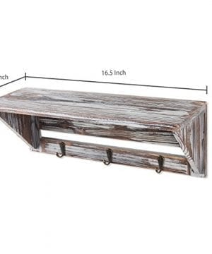 Farmhouse Style Torched Wood Wall Mounted Shelf Display Rack With 3 Key Hooks Set Of 2 Brown 0 3 300x360