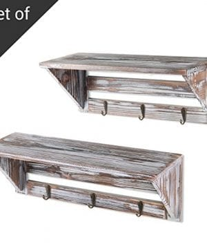Farmhouse Style Torched Wood Wall Mounted Shelf Display Rack With 3 Key Hooks Set Of 2 Brown 0 300x360