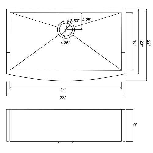 Firebird 33 X 22 X 9 Apron Farmhouse Handmade Stainless Steel Single Bowl Kitchen Sink W Drain Strainer Kit Adjustable Tray 0 0