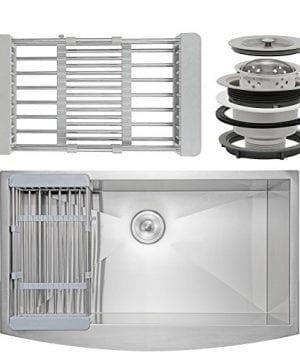Firebird 33 X 22 X 9 Apron Farmhouse Handmade Stainless Steel Single Bowl Kitchen Sink W Drain Strainer Kit Adjustable Tray 0 1 300x360