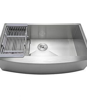 Firebird 33 X 22 X 9 Apron Farmhouse Handmade Stainless Steel Single Bowl Kitchen Sink W Drain Strainer Kit Adjustable Tray 0 2 300x360