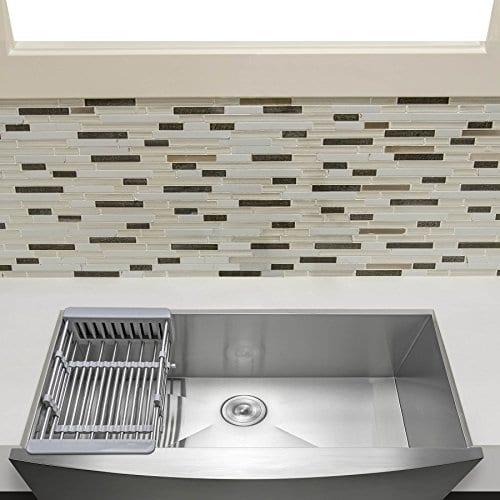 Firebird Apron Farmhouse Handmade Stainless Steel Single Bowl Kitchen Sink  w/Drain Strainer Kit Adjustable Tray (30 Inch x 20 Inch)