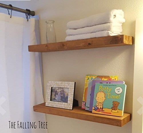 Floating Shelves With Blind Invisible Shelf By The Falling Tree 55D 15H 24W SET OF TWO Handmade Real Wood In SPECIAL WALNUT 0 3