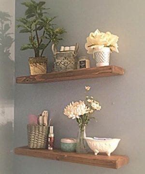 Floating Shelves With Blind Invisible Shelf By The Falling Tree 55D 15H 24W SET OF TWO Handmade Real Wood In SPECIAL WALNUT 0 300x360