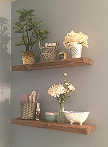 Floating Shelves With Blind Invisible Shelf By The Falling Tree 55D 15H 24W SET OF TWO Handmade Real Wood In SPECIAL WALNUT 0