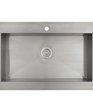 KOHLER K 3942 1 NA Vault Top Mount Single Bowl Kitchen Sink With Shortened Apron Front For 36 Inch Cabinet And Single Faucet Hole Stainless Steel 0 1 300x360