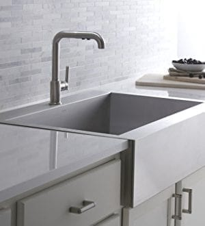 KOHLER K 3942 1 NA Vault Top Mount Single Bowl Kitchen Sink With Shortened Apron Front For 36 Inch Cabinet And Single Faucet Hole Stainless Steel 0 2 300x330