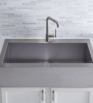 KOHLER K 3942 1 NA Vault Top Mount Single Bowl Kitchen Sink With Shortened Apron Front For 36 Inch Cabinet And Single Faucet Hole Stainless Steel 0 3 300x333