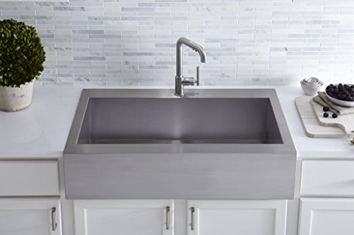 KOHLER K 3942 1 NA Vault Top Mount Single Bowl Kitchen Sink With Shortened Apron Front For 36 Inch Cabinet And Single Faucet Hole Stainless Steel 0 3