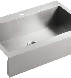 KOHLER K 3942 1 NA Vault Top Mount Single Bowl Kitchen Sink With Shortened Apron Front For 36 Inch Cabinet And Single Faucet Hole Stainless Steel 0 300x329
