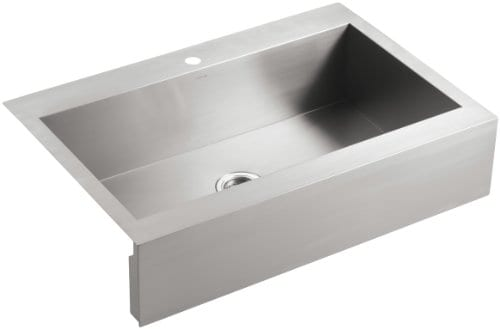 KOHLER K 3942 1 NA Vault Top Mount Single Bowl Kitchen Sink With Shortened Apron Front For 36 Inch Cabinet And Single Faucet Hole Stainless Steel 0