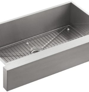 KOHLER K 3943 NA Vault Undercounter Single Basin Stainless Steel Sink With Shortened Apron Front For 36 Inch Cabinet 0 300x313