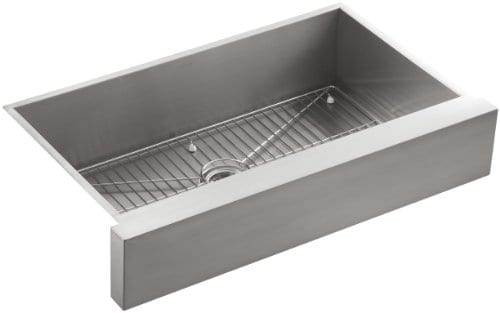 KOHLER K 3943 NA Vault Undercounter Single Basin Stainless Steel Sink With Shortened Apron Front For 36 Inch Cabinet 0