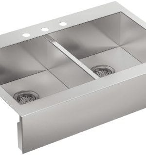 KOHLER K 3944 3 NA Vault Top Mount Double Equal Bowl Kitchen Sink With Shortened Apron Front For 36 Inch Cabinet And 3 Faucet Holes Stainless Steel 0 300x320