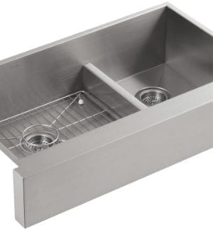 KOHLER K 3945 NA Vault Undercounter Offset Smart Divide Stainless Steel Sink With Shortened Apron Front For 36 Inch Cabinet 0 300x325