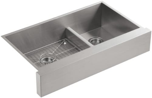 KOHLER K 3945 NA Vault Undercounter Offset Smart Divide Stainless Steel Sink With Shortened Apron Front For 36 Inch Cabinet 0