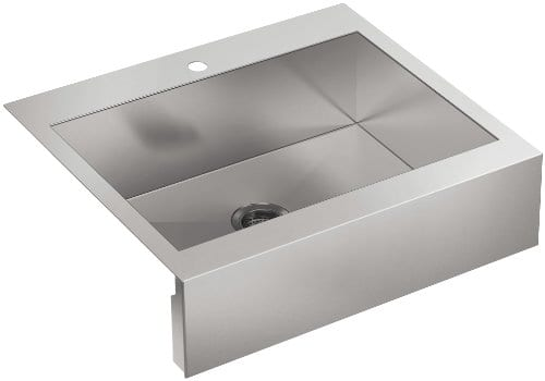 Kohler 3935 1 NA Top Mount Single Bowl Stainless Steel Kitchen Sink With Tall Apron For 30 Inch Cabinet 0