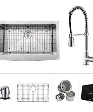 Kraus 33 Inch Farmhouse Single Bowl Stainless Steel Kitchen Sink With Chrome Kitchen Faucet And Soap Dispenser 0 300x360
