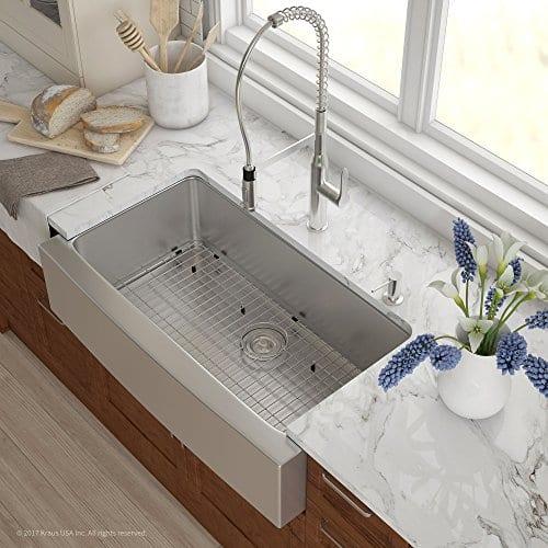 Kraus KHF200-36 Standart PRO Kitchen Stainless Steel Sink, 36 Inch Round  Apron Single Bowl