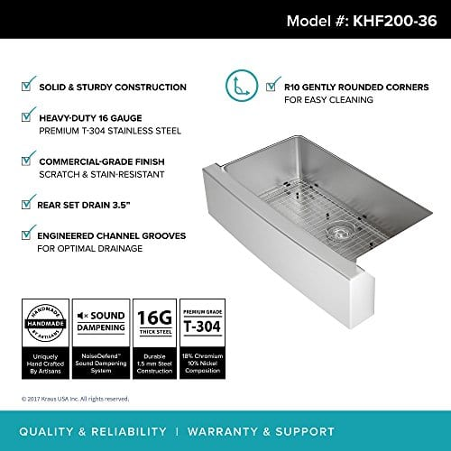 Kraus KHF200 36 36 Inch Farmhouse Apron Single Bowl 16 Gauge Stainless Steel Kitchen Sink 0 1