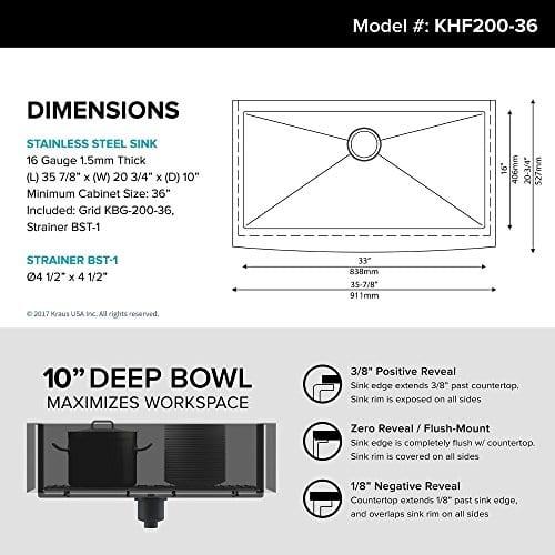 Kraus Khf200 36 Standart Pro Kitchen Stainless Steel Sink 36 Inch Round Apron Single Bowl Farmhouse Goals