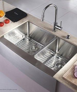 Kraus KHF203 33 33 Inch Farmhouse Apron 6040 Double Bowl 16 Gauge Stainless Steel Kitchen Sink 0 0 300x360