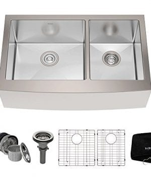 Kraus KHF203 33 33 Inch Farmhouse Apron 6040 Double Bowl 16 Gauge Stainless Steel Kitchen Sink 0 300x360