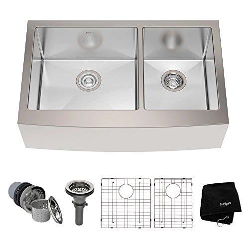 Kraus KHF203 33 33 Inch Farmhouse Apron 6040 Double Bowl 16 Gauge Stainless Steel Kitchen Sink 0