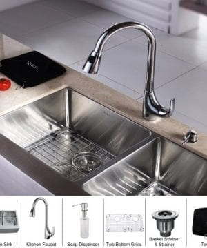Kraus KHF203 33 KPF1621 KSD30CH 33 Inch Farmhouse Double Bowl Stainless Steel Kitchen Sink With Chrome Kitchen Faucet And Soap Dispenser 0 300x360