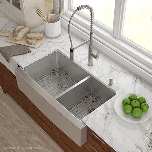 Kraus KHF203 36 36 Inch Farmhouse Apron 6040 Double Bowl 16 Gauge Stainless Steel Kitchen Sink 0 0