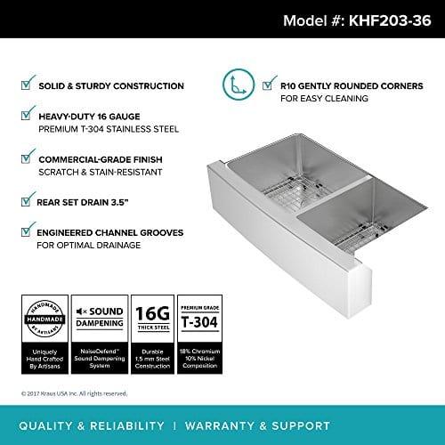 Kraus KHF203 36 36 Inch Farmhouse Apron 6040 Double Bowl 16 Gauge Stainless Steel Kitchen Sink 0 2
